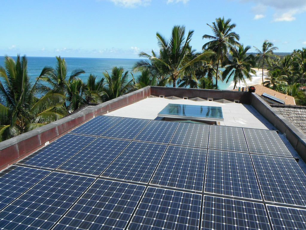 A beautiful length of solar panels on a roof