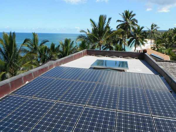 A happy family, pleased with their solar power