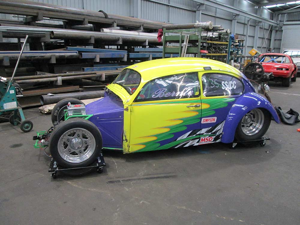 aikman engineering racing hot rod with stylish paint work