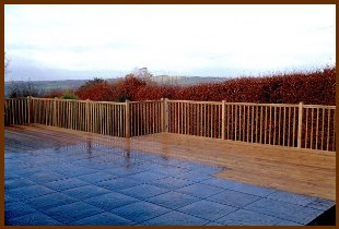 Patio and decking area on a balcony
