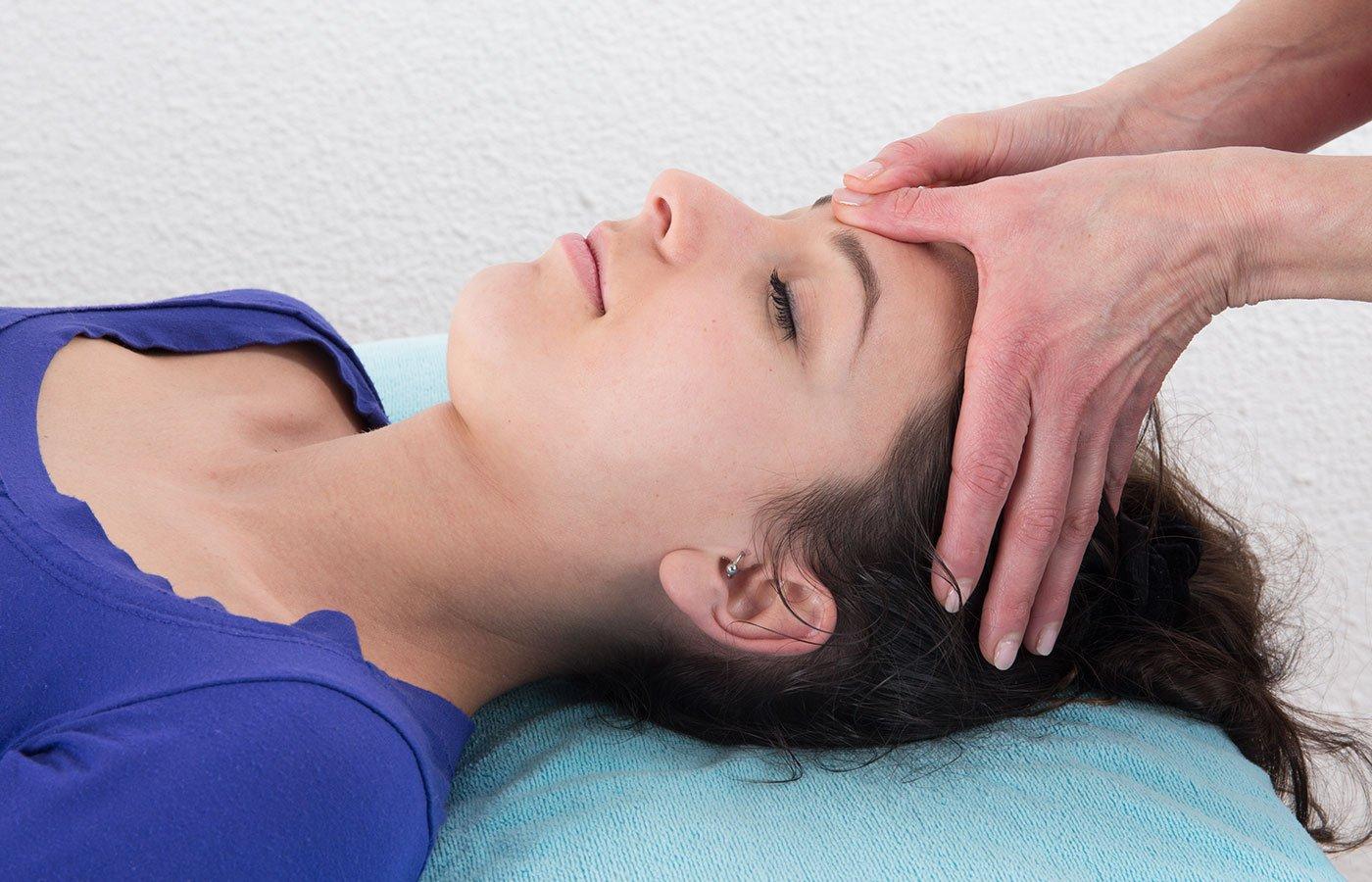 Head massage in spa resort