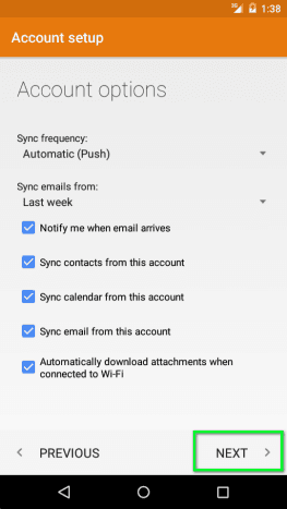 Android Account Setup Options