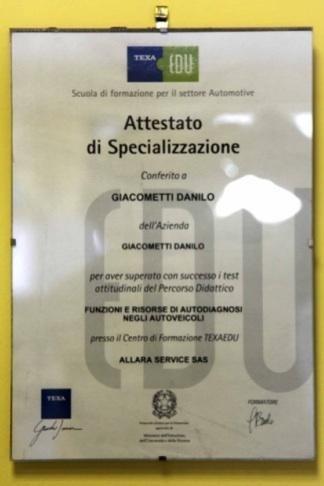 Attestato di specializzazione autofficina Giacometti Torino