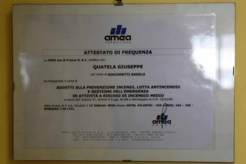 Attestato di frequenza autofficina Giacometti Torino