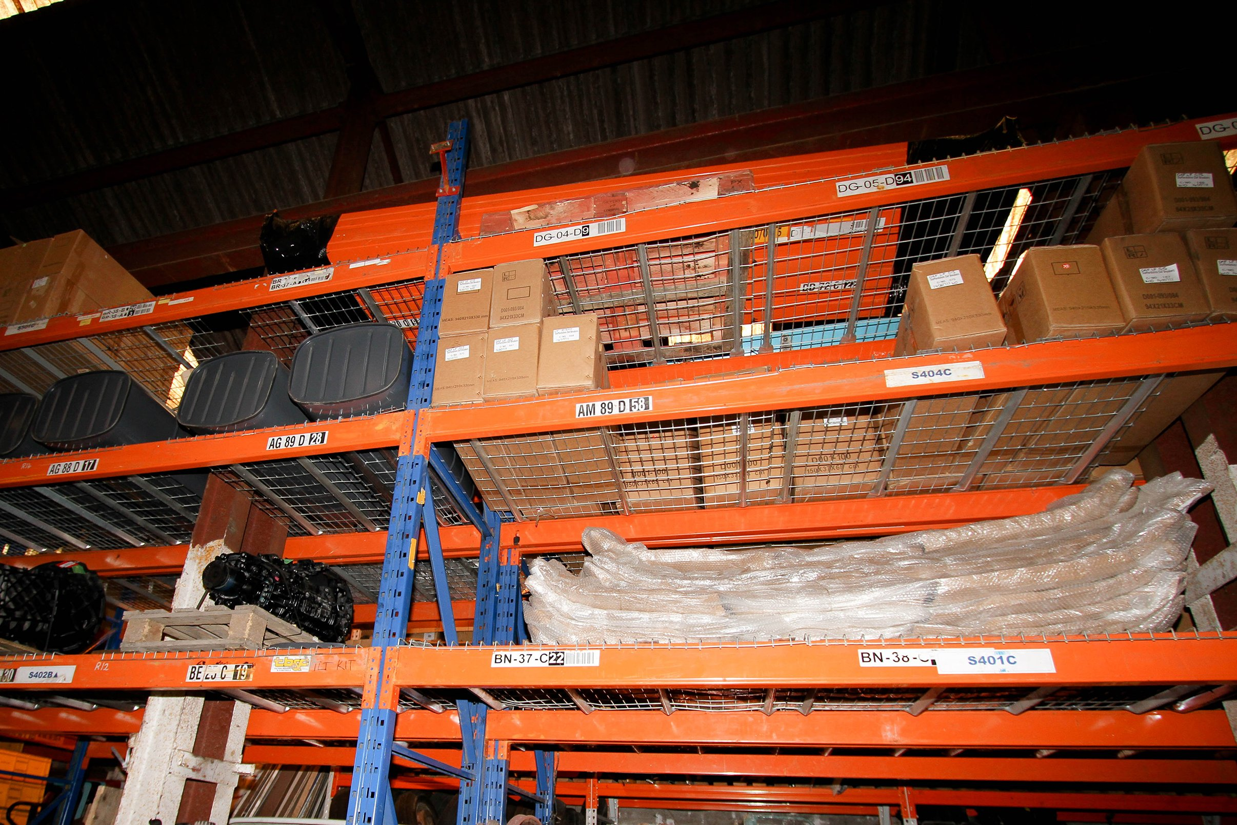 DAF spare parts on a rack
