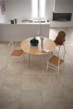 stone flooring with chairs