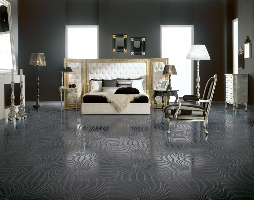dark textured floor tiling