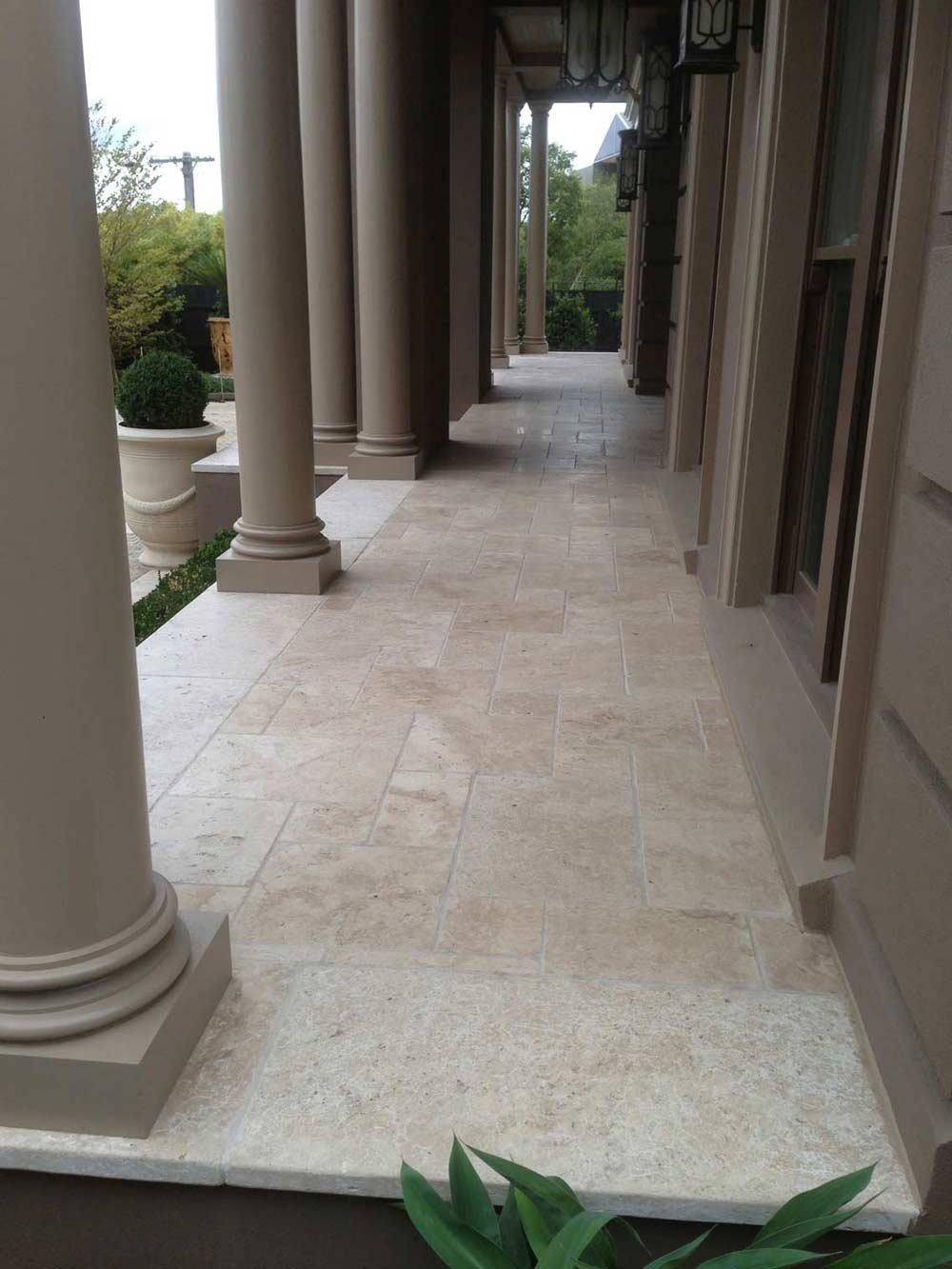 stone tiles with stone pillars