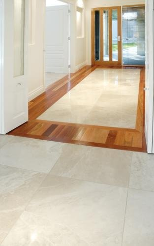 natural wood and tiling decorative floor
