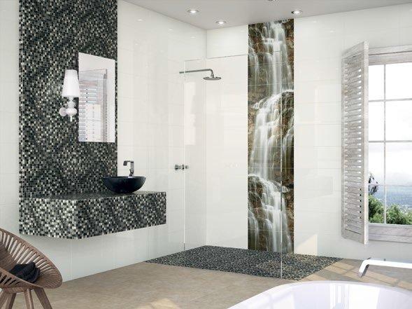 modern shower in modern bathroom