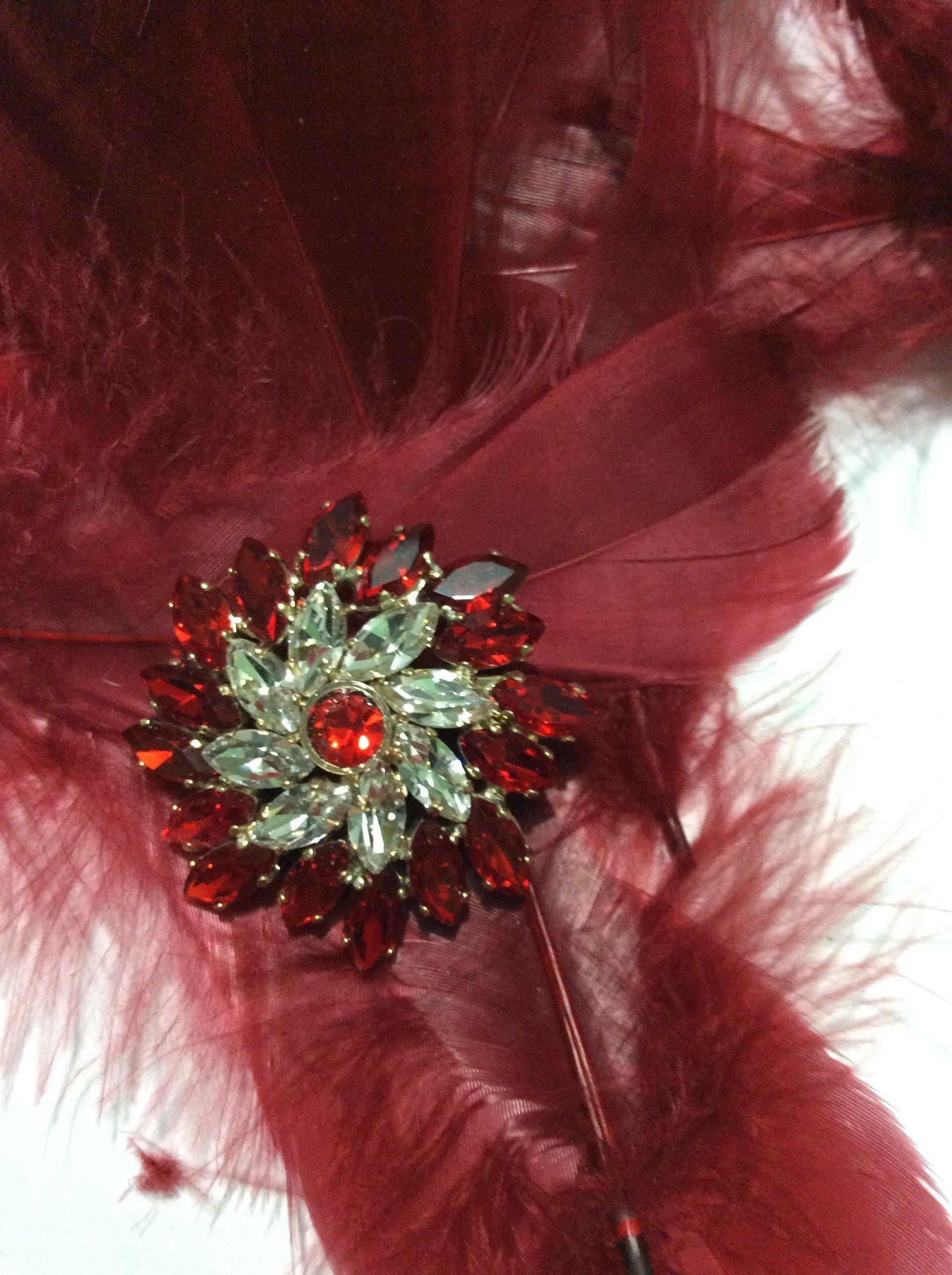 decorazione per costume, spilla con piume rosse