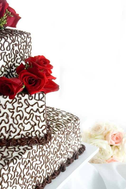 chocolate teired wedding cake