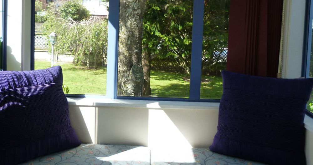 Retirement home room with garden view