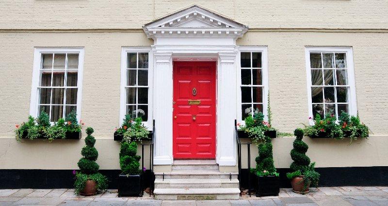 red coloured door
