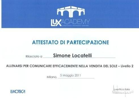 Attestato di partecipazione Simone Locatelli
