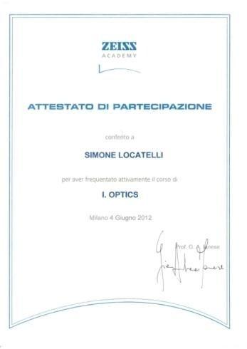 Attestato partecipazione Zeiss Simone Locatelli