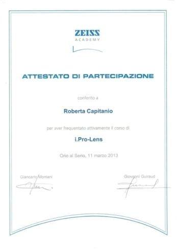 Attestato partecipazione Zeiss Roberta Capitanio
