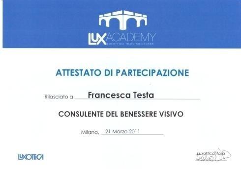 Attestato partecipazione Francesca Testa