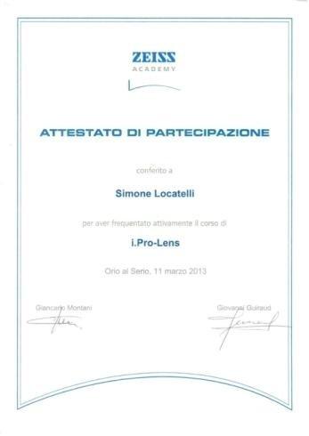Attestato partecipazione Simone Locatelli