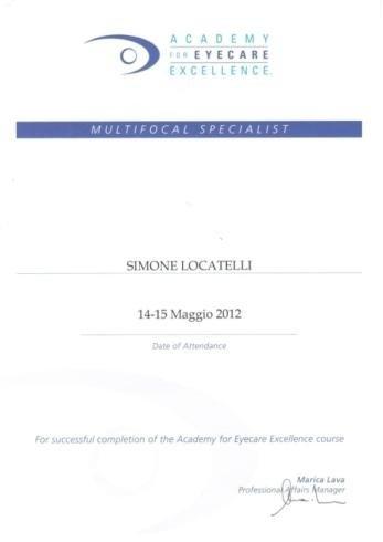 Multifocal specialist Simone Locatelli