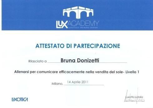 Attestati di partecipazione Bruna Donizetti