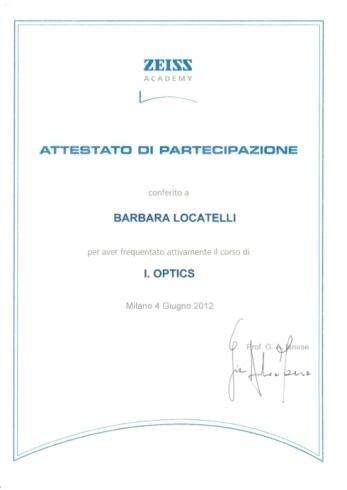 Attestato partecipazione Zeiss Barbara Locatelli