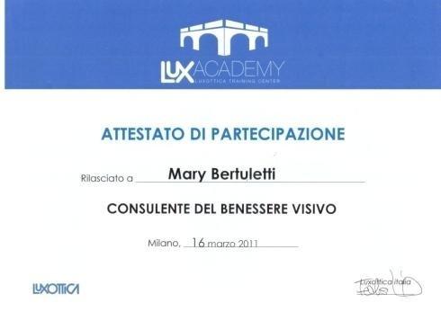 Attestato partecipazione Mary Bertuletti