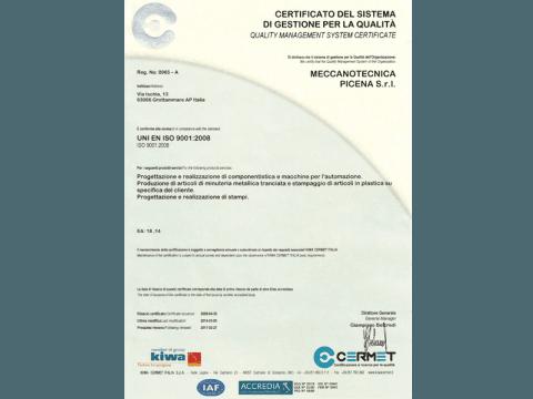 Certificato del Sistema di Gestione per la Qualità