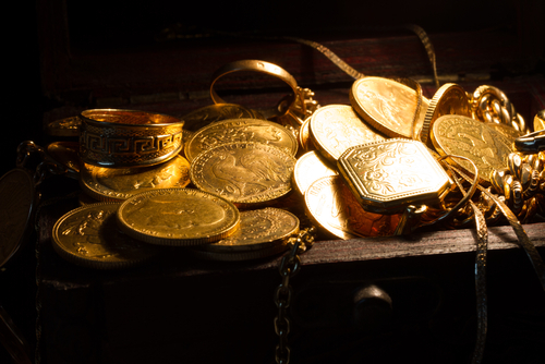 Chest full of gold coins in Rochester, NY