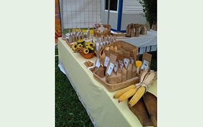 vista laterale di un tavolo con pane e girasoli