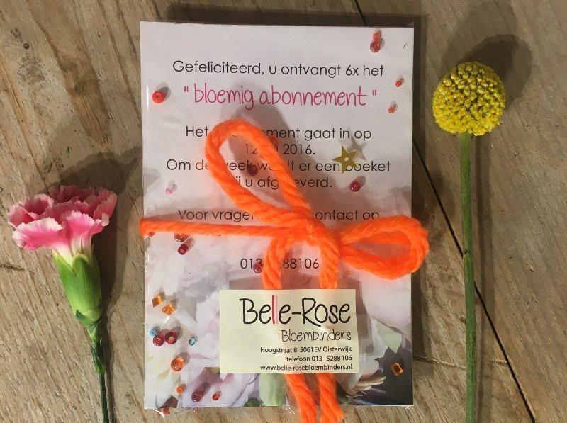 Abonnement op wekelijks, maadelijks of jaarlijks boeketten in uw woning door Belle-Rose Bloemen, Oisterwijk