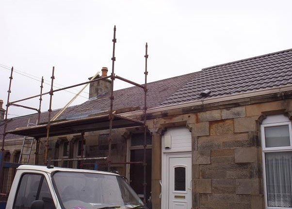 partially installed roof