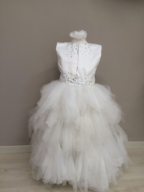 Vestito bianco chiffon plissettato