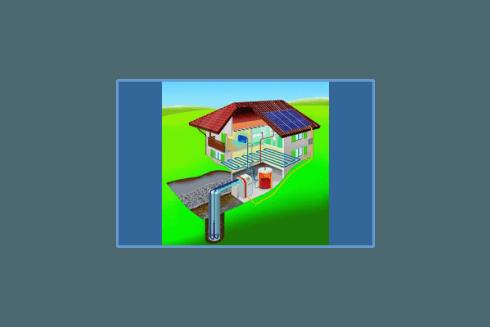 Schema di impianto geotermico.
