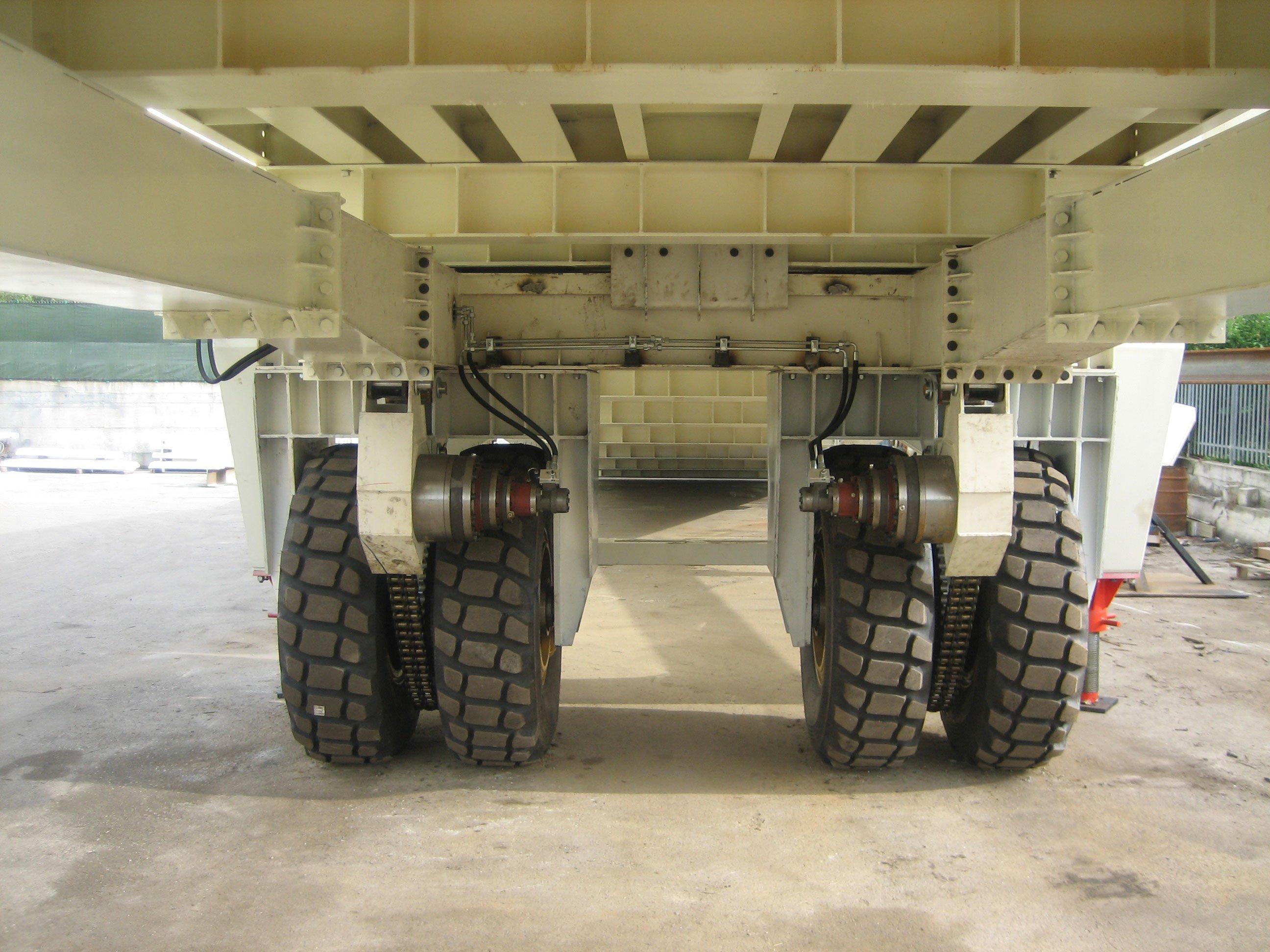 un camion visto da sotto si vedono le ruote e il telaio