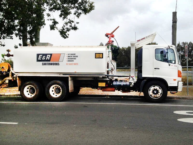 White heavy truck of bobcat equipment hire in Gold Coast