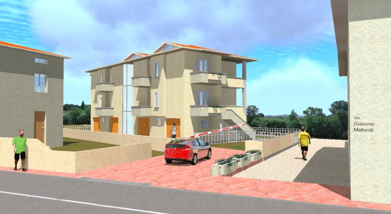 un'immagine in CAD di una villetta in un'area residenziale