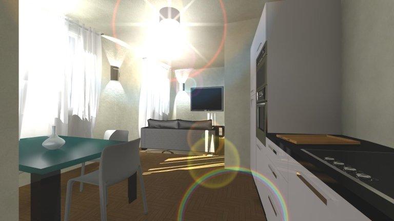 una mano con un modellino di una casa, una penna e di fronte un disegno di un progetto