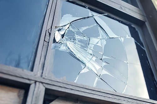 view of the window with broken glass