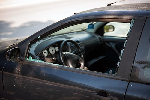 View of a car with broken glass