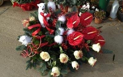 Composizioni di fiori e peluche