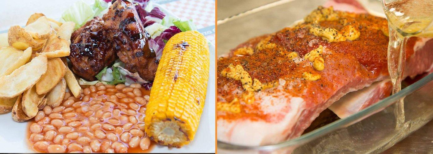 Pollo barbecue con patate dippers pannocchia e fagioli rossi piccanti a Colonnella
