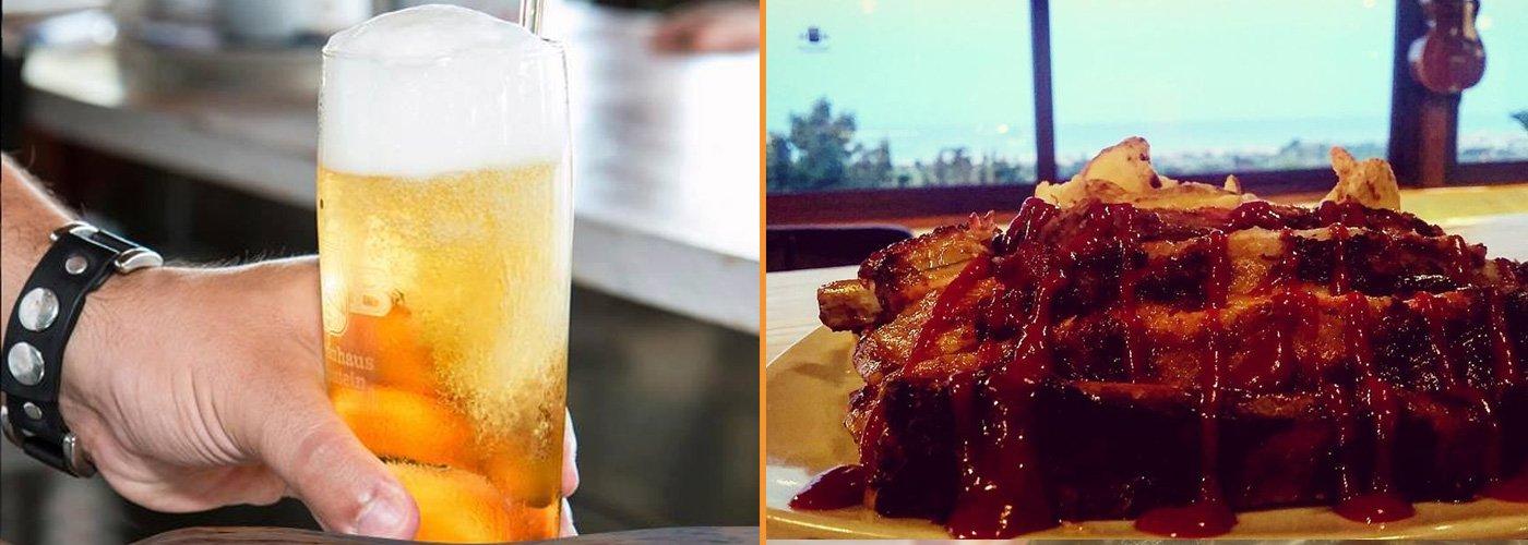 Bicchiere di birra ed un piatto di Cap Rock steak house a Colonnella