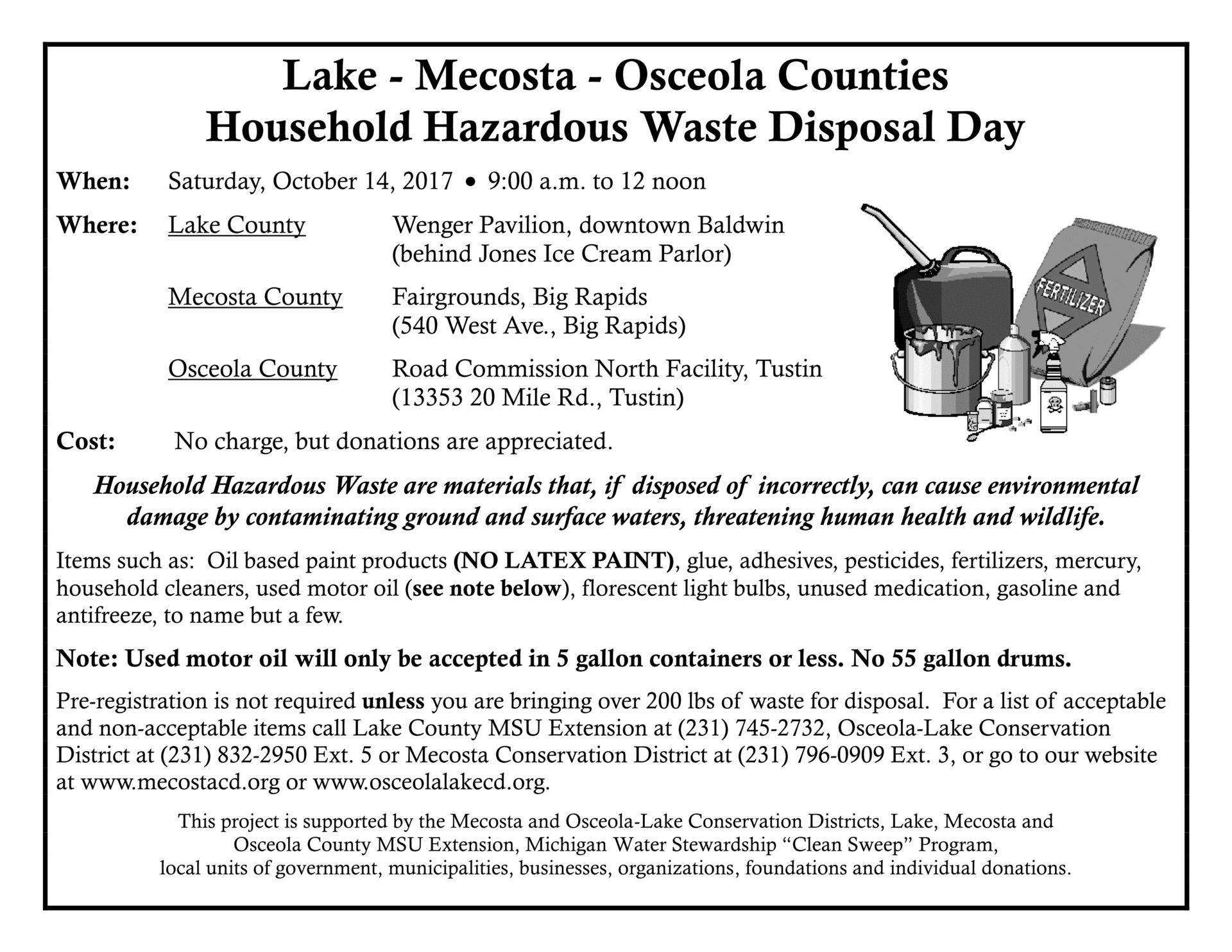 Lake Mecosta Osceola Counties Household Hazardous Waste