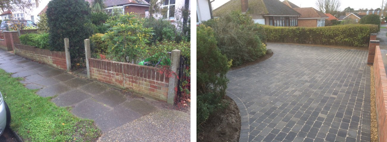 From a tired overgrown frontage to a new wall and driveway in Bradstone graphite tumbled blocks