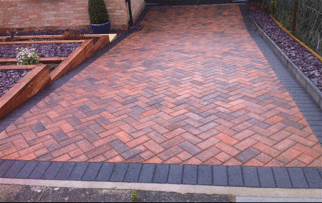 Old Tarmac to new Marshalls burnt Ochre blocks with charcoal edging