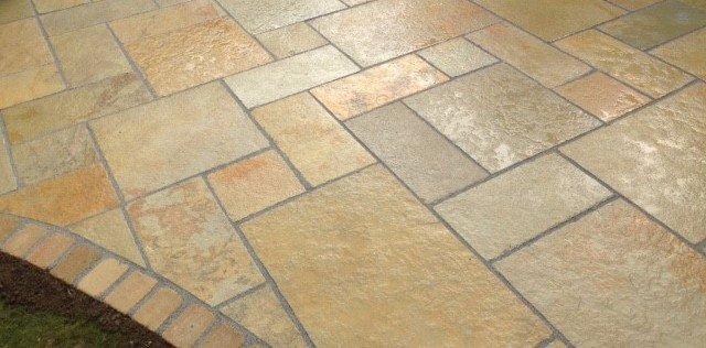 Stone paving on patio
