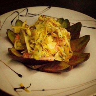 insalata di carciofi e frutti di mare