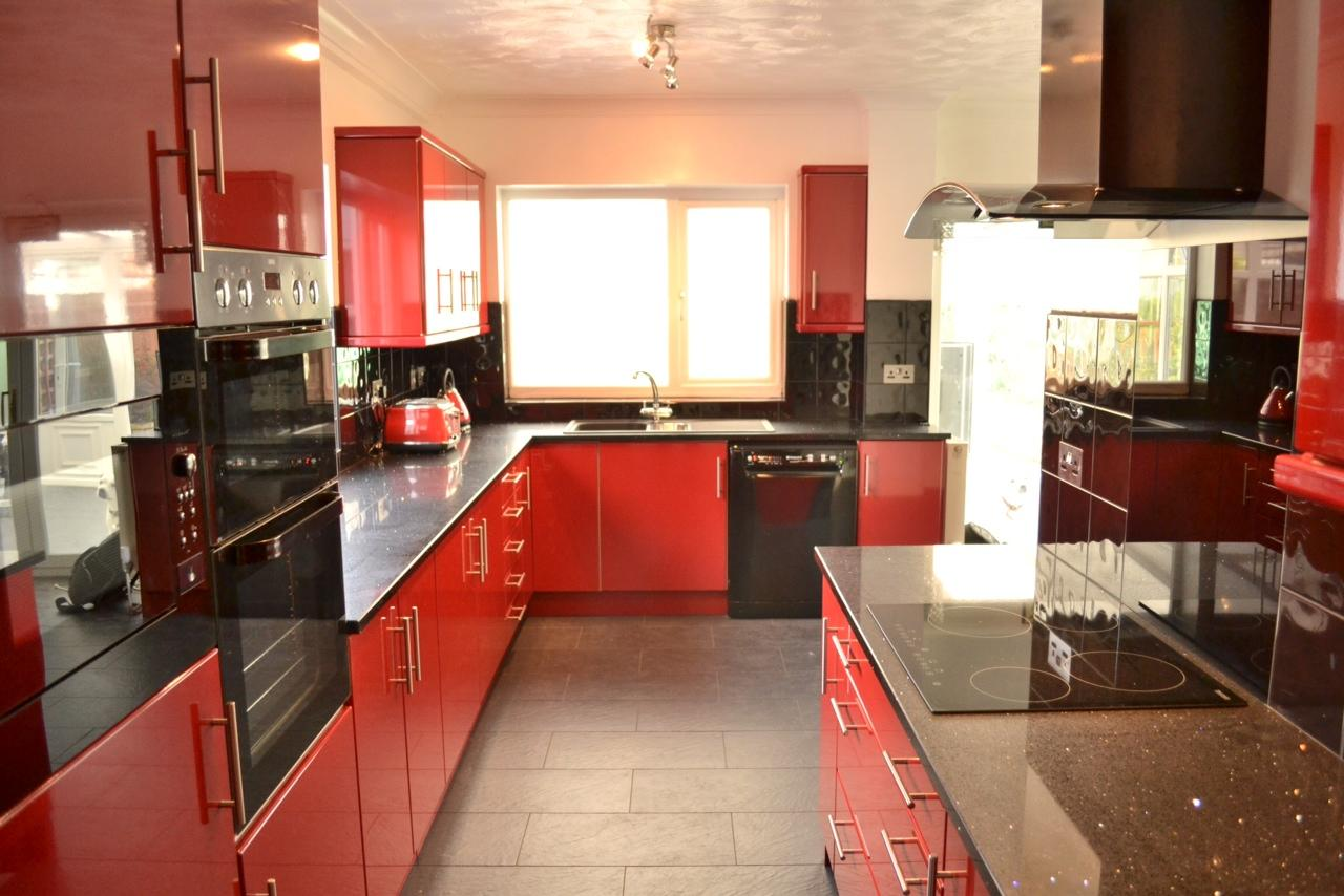 red cabinets