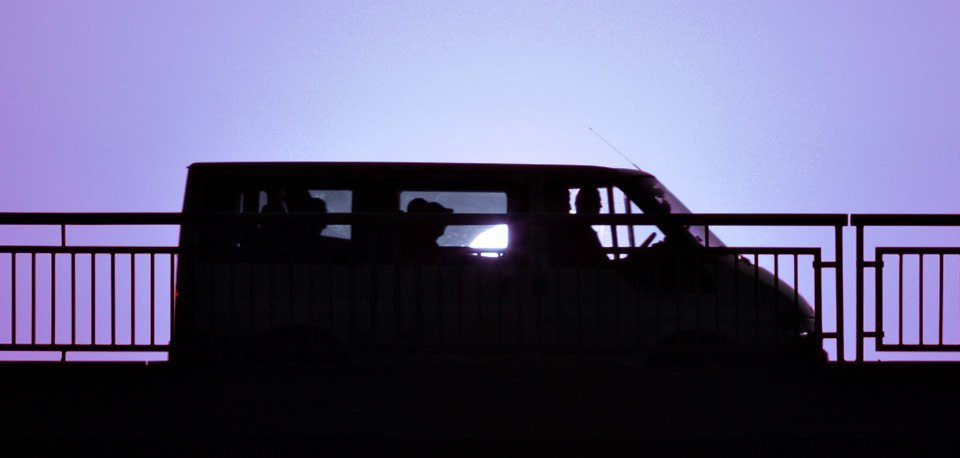people travelling in the minibus